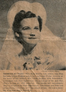Barbara Hughes Lea's wedding photo, 1942